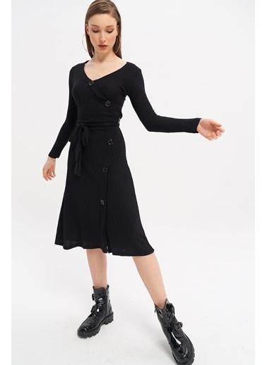 ESQ Kaskorse Düğmeli Elbise Siyah
